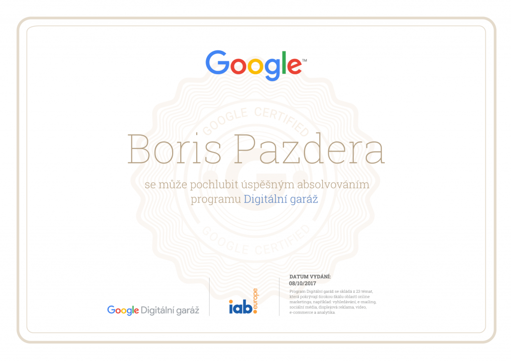 Certifikát Boris Pazdera Google Digitální Garáž