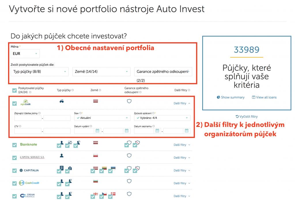 Nastavení portfolia v auto investu