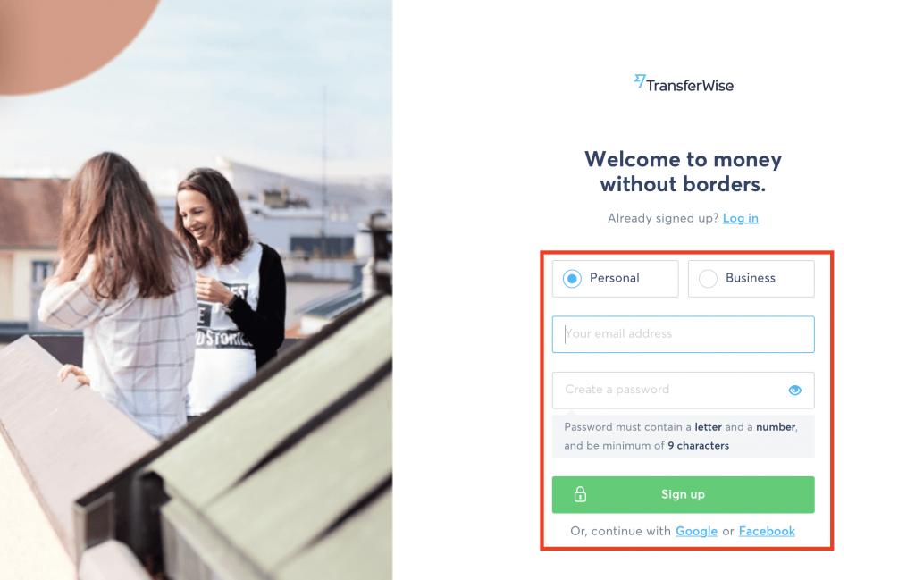 TransferWise návod - vyplnění registrace