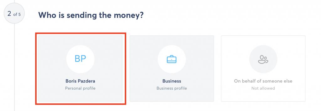 Transferwise - vybrání svého účtu