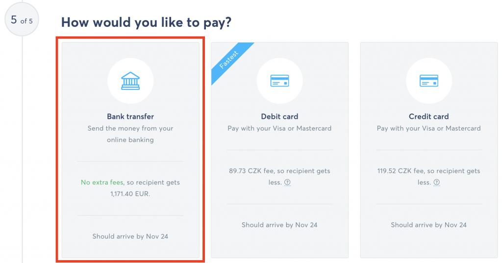 Vybrání typu převedu peněz z naší banky