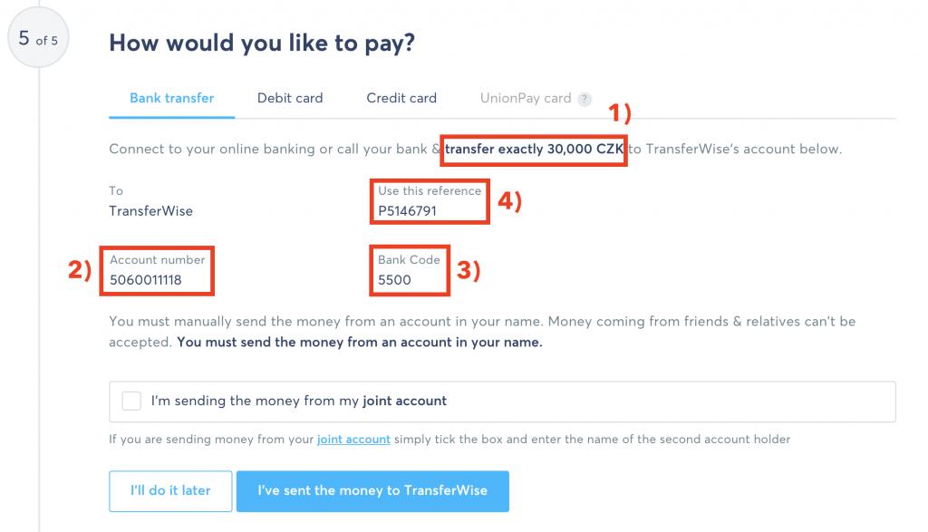 TransferWise - Údaje pro odeslání z našeho českého účtu