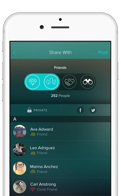 Vero sociální síť - výběr s kým sdílet příspěvek