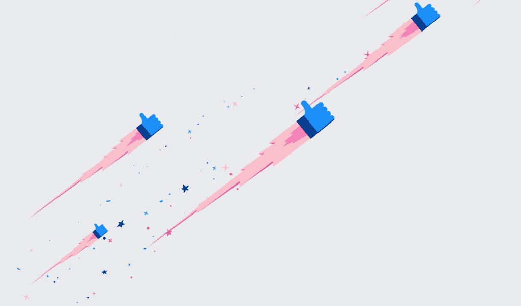 facebook animace textu - létající palec nahoru