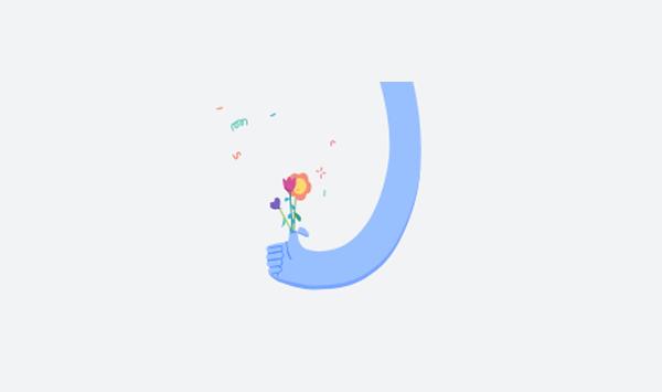 facebook animace textu - ruka s květinkou