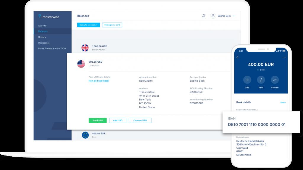 TransferWise - borderless account účet